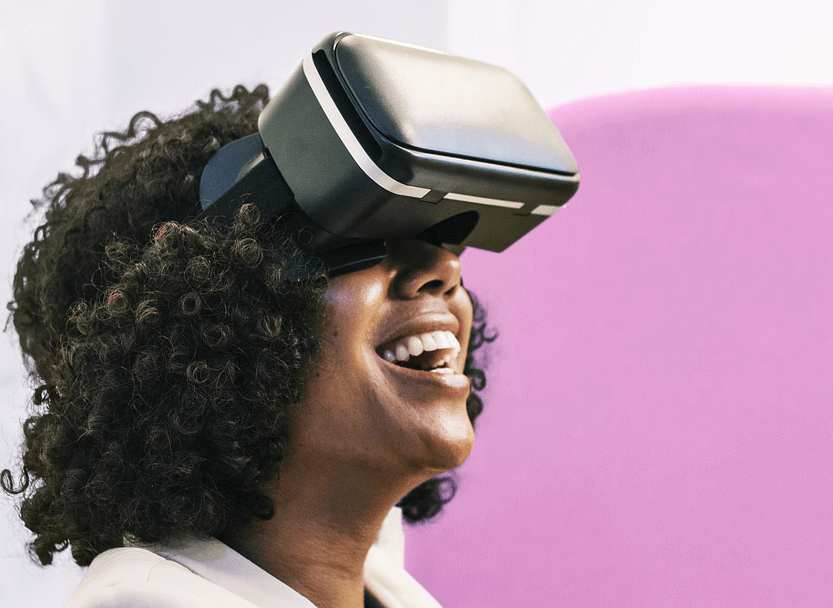 young femals wearing VR headset