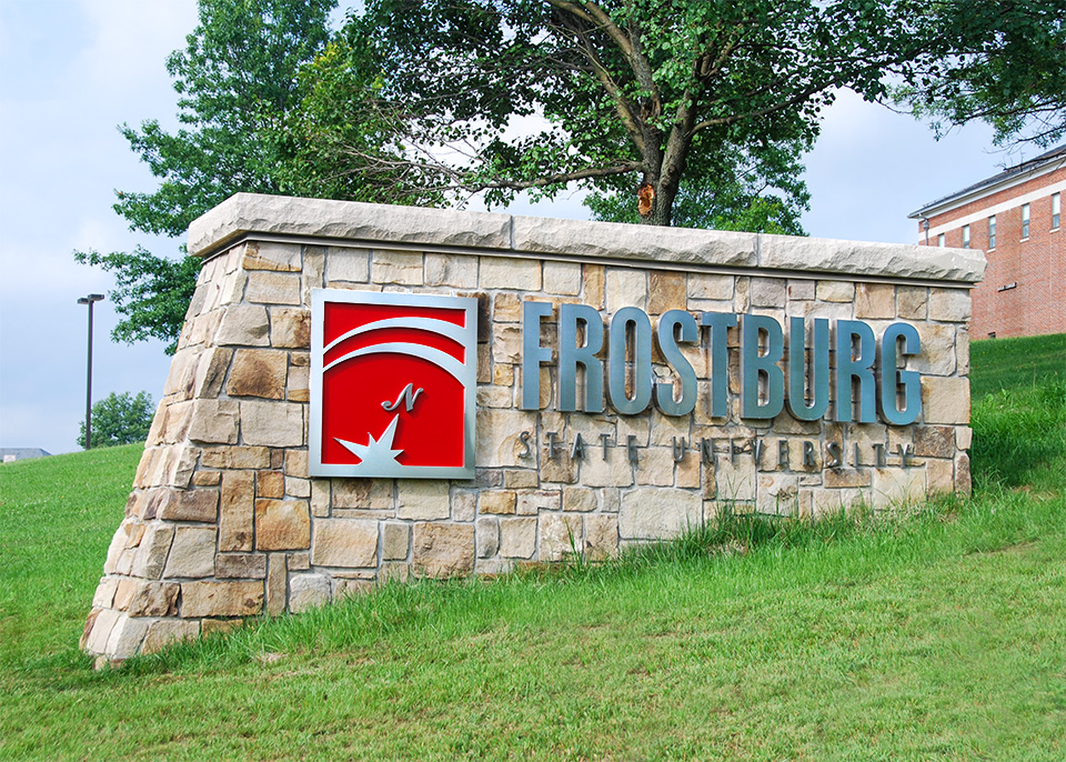 stone sign with Frostburg State University and logo
