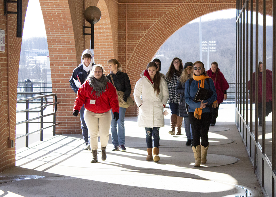group of potential student touring outside library