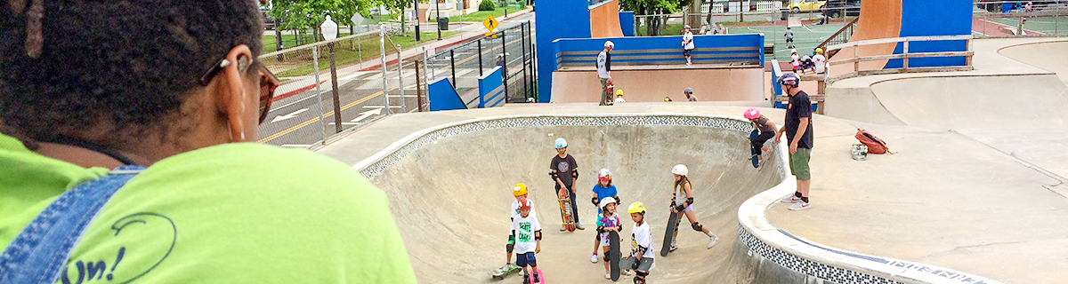 elementary age children use the skating park