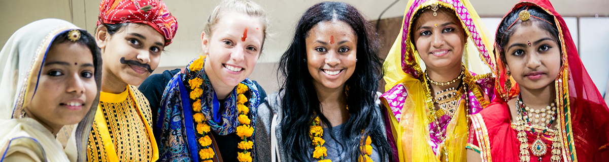 FSU exchange student with costumed group of Indian females