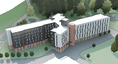 artist's rendering of new residence hall