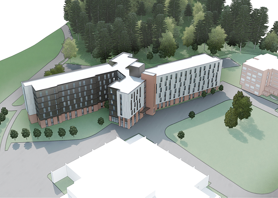 artist's rendering of the new residence hall from birds-eye-view