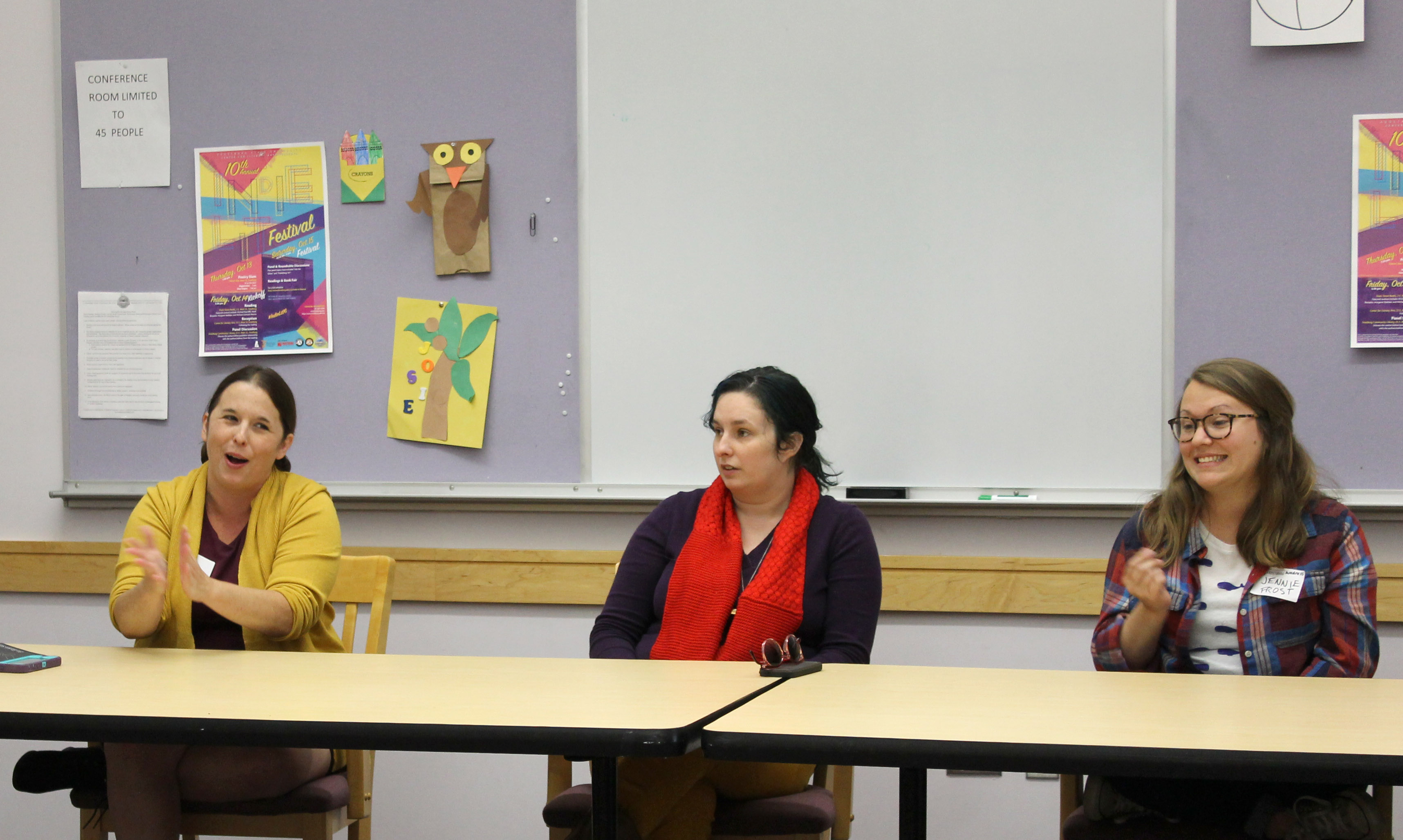 "Representatives of Sundress Publications, from left, founder Dr. Erin Elizabeth Smith, ""Stirring"" managing editor Luci Brown and writer-in-residence Jennie Frost, lead an author-publisher panel discussion at the FSU Independent Literature Festival."