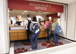 registrar's office with students at counter