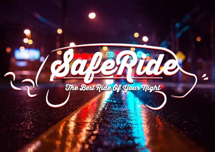 saferide logo imposed over dark wet street