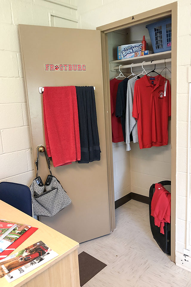 sample closet in Allen Hall