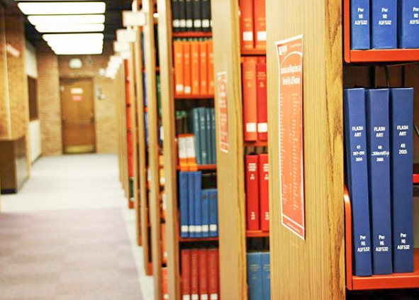library shelves in Ort Library