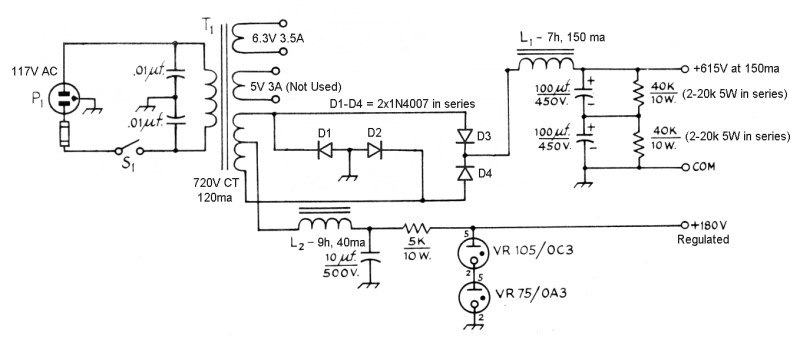 The AA8V 6146B Amplifier - Power Supply Schematic Diagrams ... Half Wave Dc Power Supply Schematic Diagram on