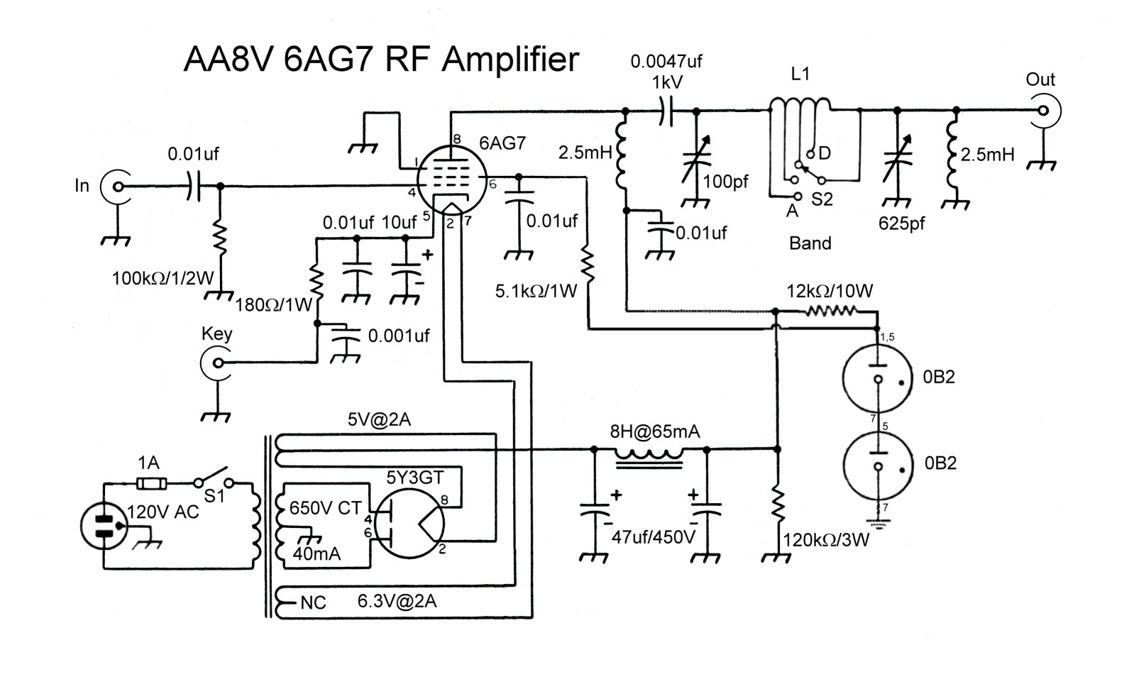 The Aa8v 6ag7 Amplifier Schematic Diagrams And Circuit Descriptions Drawing Rotated Full Resolution For Printing