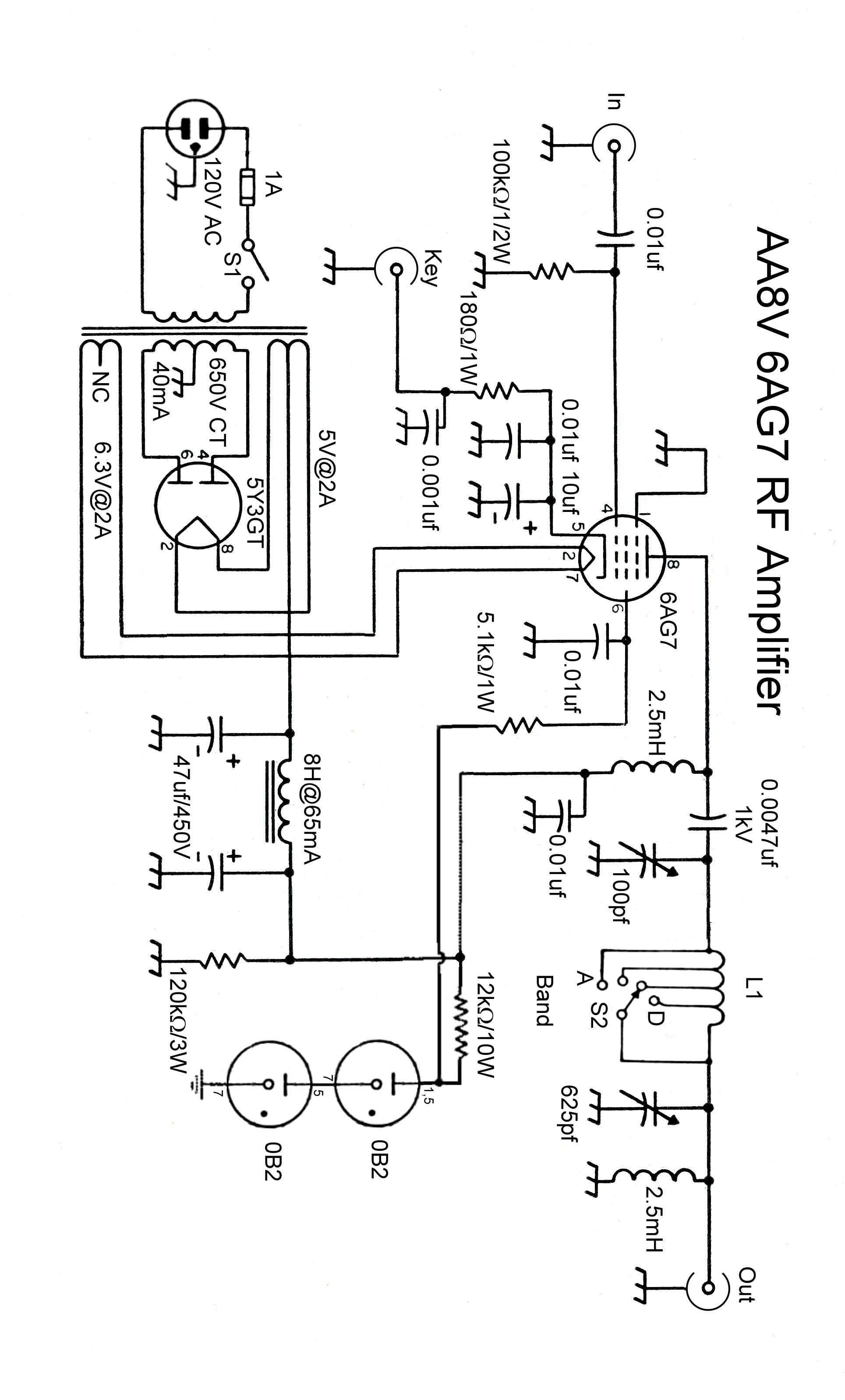 The AA8V 6AG7 Amplifier - Schematic Diagrams and Circuit Descriptions