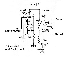 The AA8V 6x2 Superheterodyne Receiver - Mixer Schematic
