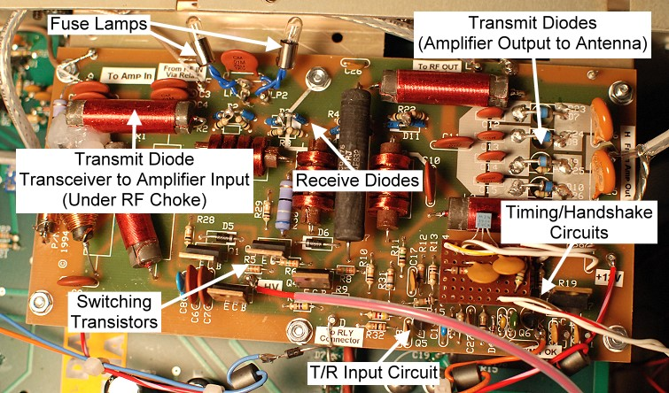 click on a section of the photo below for information on that part of the  qsk-5 circuit board: