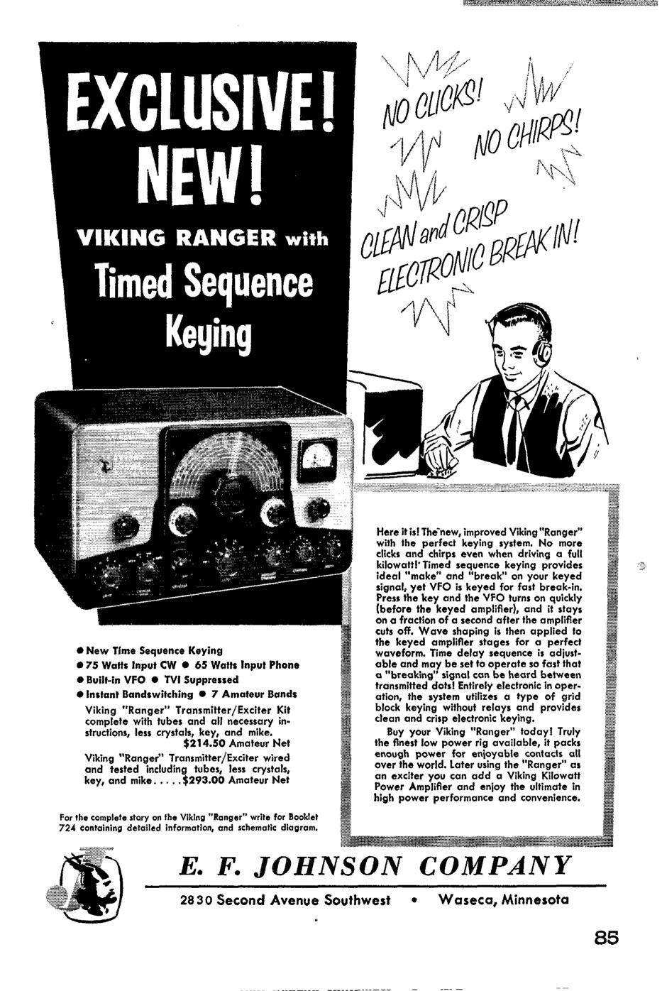 The Johnson Viking Ranger Manuals And Advertisements Build Notes Calibrate Program Schematic Click For Full Here 1955 Qst Advertisement In Format
