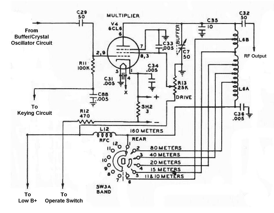 the johnson viking ranger  multiplier schematic diagram and circuit description