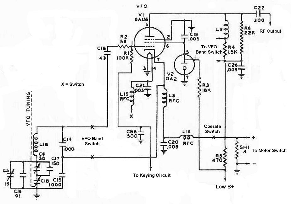 The Johnson Viking Ranger - Oscillator Schematic and Circuit