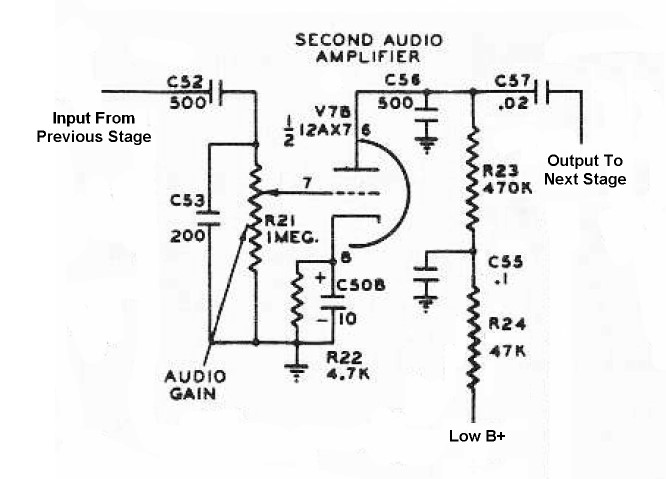 The Johnson Viking Ranger - Second Audio Amplifier Circuit ... on amplifier output diagram, audio amp schematic, power amp schematic, amplifier voltage gain, amplifier circuit project, amplifier circuit component, amplifier circuit design, amplifier parts, voltage amplifier schematic, stereo amplifier schematic, power transistor schematic, 2n3055 amplifier schematic, amplifier circuit connection, amplifier circuits using transistors, amplifier circuit board, amplifier circuit voltage, amplifier schematic diagram, amplifier circuit diagram, amplifier circuit switch, metal detector schematic,
