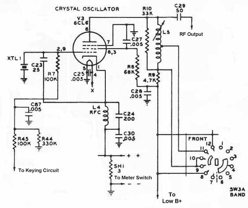 The Johnson Viking Ranger Crystal Oscillator Schematic Diagram And