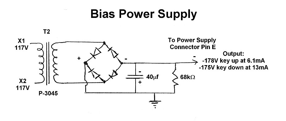 The W8EXI Wingfoot VFO Exciter - Bias Power Supply Schematic ... on