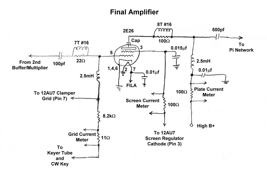 The W8EXI Wingfoot VFO Exciter - Final Amplifier Schematic