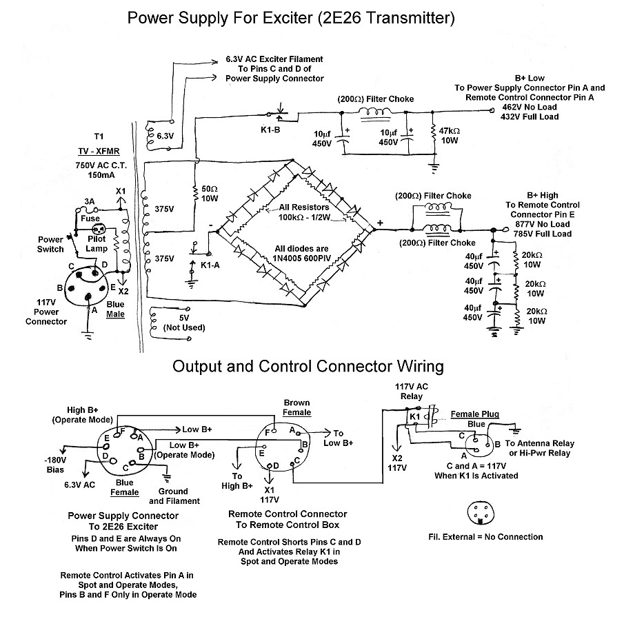 The WEXI Wingfoot VFO Exciter Plate Power Supply Schematic - Relay coil voltage tolerance