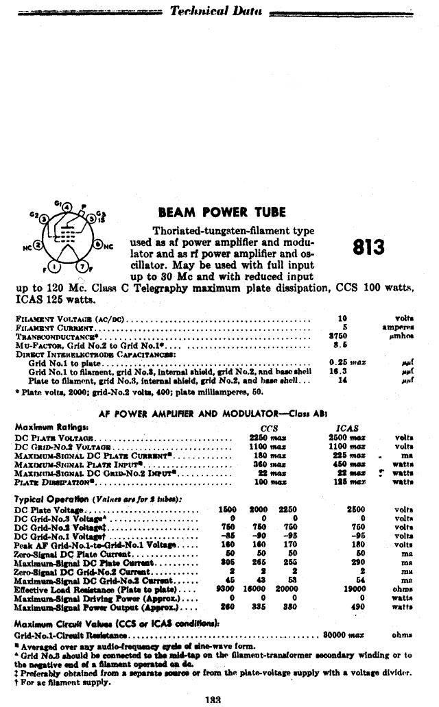 813 Beam Power Tube and Data Sheets