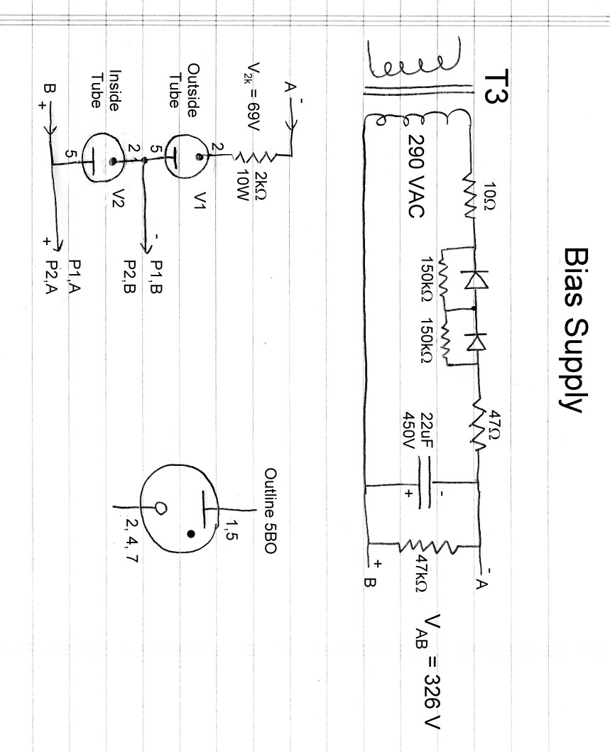 Wingfoot 813 Bias Supply Circuit Description And Schematic Diagram Symmetrical Regulated Power Circuits Design Considerations The Provides Operating Cutoff For Tube Little Current Less Than 30 Ma At 150 Volts Dc Is