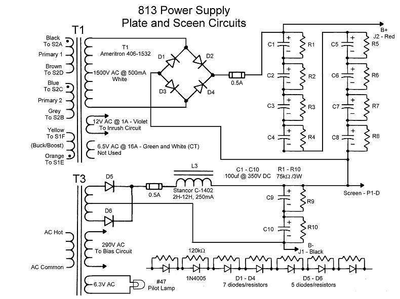 wingfoot 813 plate and plate screen supply circuit description andclick on a section of the schematic below for information on that part of the circuit